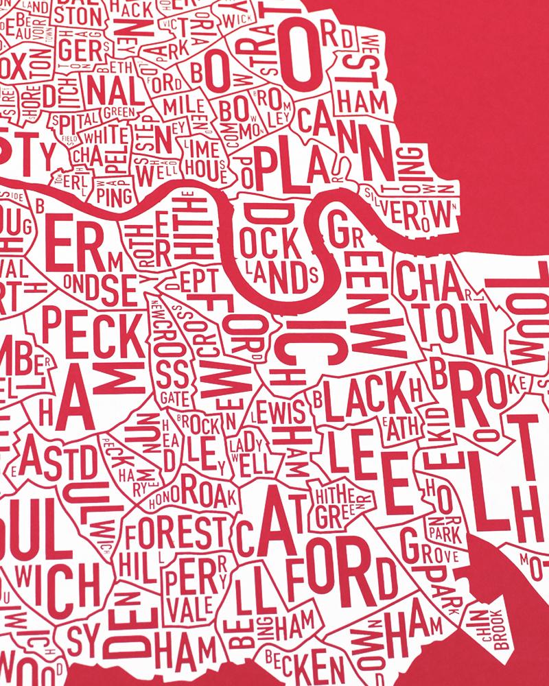Neighborhood Map London.London Neighbourhood Map 50cm X 50cm Britain S Red Screenprint