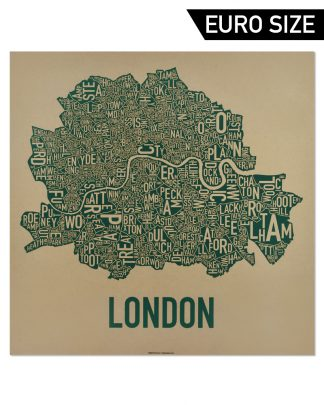 Central London Neighborhood Map, Tan & Green, 50cm x 50cm