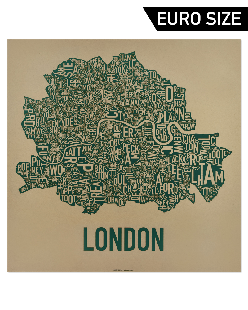 Central London Districts Map.London Neighbourhood Map 50cm X 50cm Hyde Park Greenery Screenprint