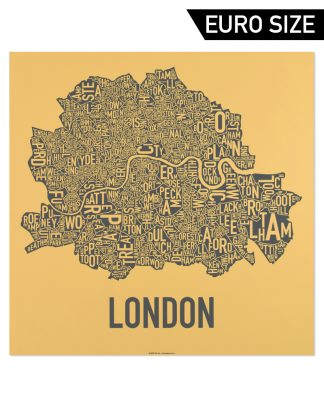 Central London Neighborhood Map, Mustard & Grey, 50cm x 50cm
