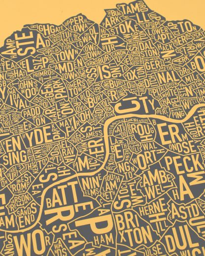Central London Neighborhood Map, Mustard & Grey, 50cm x 50cm