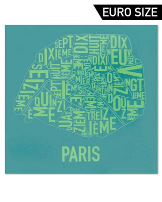 Paris Arrondissements Map, Teal & Lime, 50cm x 50cm