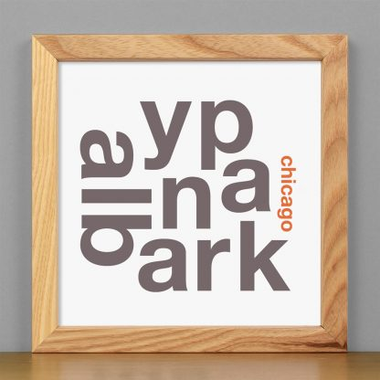 """Framed Albany Park Chicago Fun With Type Mini Print, 8"""" x 8"""", White & Grey in Light Wood Frame"""