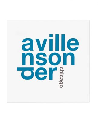 "Andersonville Chicago Fun With Type Mini Print, 8"" x 8"", White & Blue"