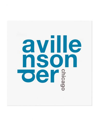 """Andersonville Chicago Fun With Type Mini Print, 8"""" x 8"""", White & Blue"""