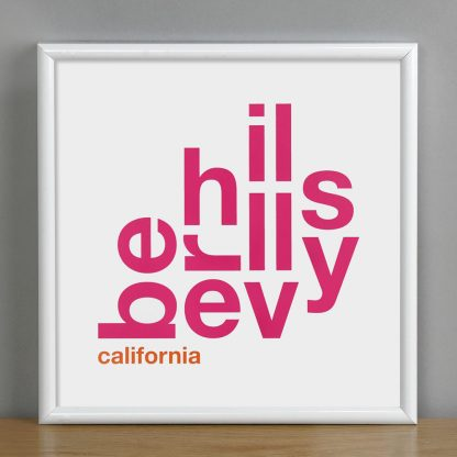 "Framed Beverly Hills Fun With Type Mini Print, 8"" x 8"", White & Pink in White Metal Frame"