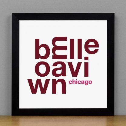 "Framed Bowmanville Chicago Fun With Type Mini Print, 8"" x 8"", White & Burgundy in Black Metal Frame"
