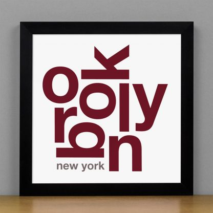 "Framed Brooklyn Fun With Type Mini Print, 8"" x 8"", White & Maroon in Black Metal Frame"