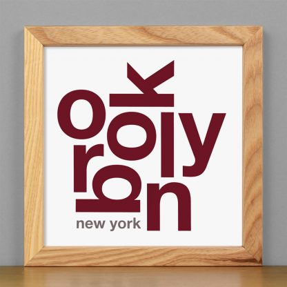 "Framed Brooklyn Fun With Type Mini Print, 8"" x 8"", White & Maroon in Light Wood Frame"