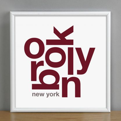 "Framed Brooklyn Fun With Type Mini Print, 8"" x 8"", White & Maroon in White Metal Frame"