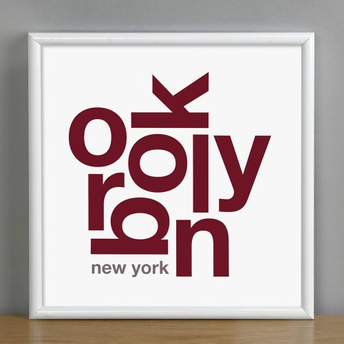 "Framed Brooklyn Fun With Type Mini Print, 8"" x 8"", White & Maroon in White Metal Frame"