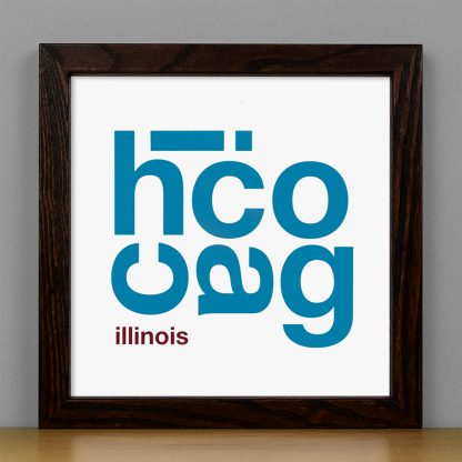 "Framed Chicago Fun With Type Mini Print, 8"" x 8"", White & Blue in Dark Wood Frame"