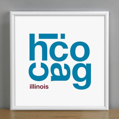 "Framed Chicago Fun With Type Mini Print, 8"" x 8"", White & Blue in White Metal Frame"