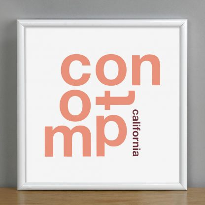 "Framed Compton Fun With Type Mini Print, 8"" x 8"", White & Coral in White Metal Frame"