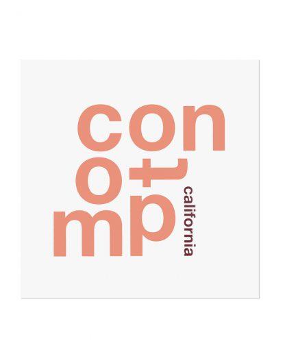 "Compton Fun With Type Mini Print, 8"" x 8"", White & Coral"