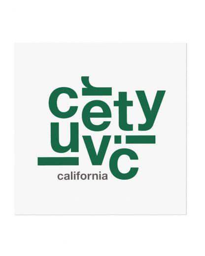 "Culver City Fun With Type Mini Print, 8"" x 8"", White & Green"