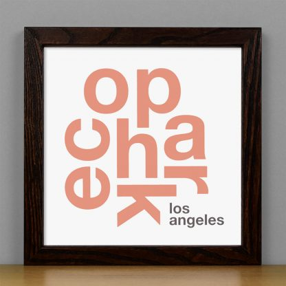 "Framed Echo Park Fun With Type Mini Print, 8"" x 8"", White & Coral in Dark Wood Frame"