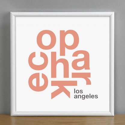 "Framed Echo Park Fun With Type Mini Print, 8"" x 8"", White & Coral in White Metal Frame"