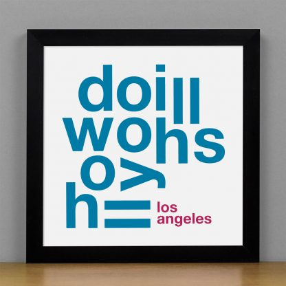 """Framed Hollywood Hills Fun With Type Mini Print, 8"""" x 8"""", White & Grey in Black Metal Frame"""