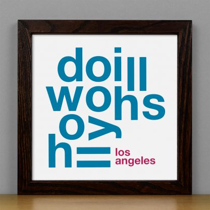 "Framed Hollywood Hills Fun With Type Mini Print, 8"" x 8"", White & Grey in Dark Wood Frame"