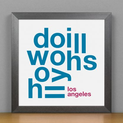 """Framed Hollywood Hills Fun With Type Mini Print, 8"""" x 8"""", White & Grey in Steel Grey Frame"""