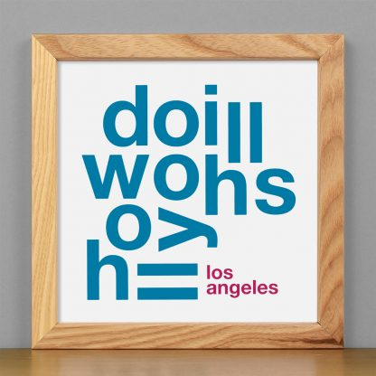 """Framed Hollywood Hills Fun With Type Mini Print, 8"""" x 8"""", White & Grey in Light Wood Frame"""