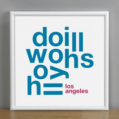 """Framed Hollywood Hills Fun With Type Mini Print, 8"""" x 8"""", White & Blue in White Metal Frame"""