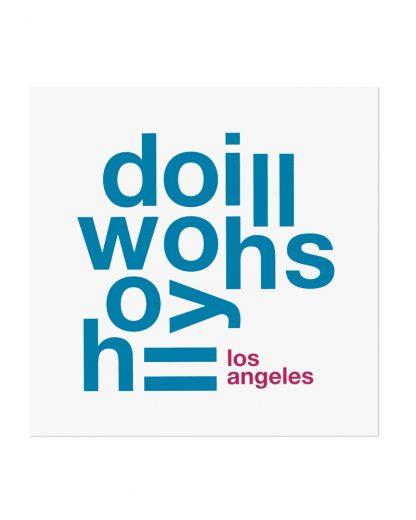 "Hollywood Hills Fun With Type Mini Print, 8"" x 8"", White & Blue"