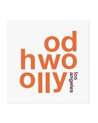 "Hollywood Fun With Type Mini Print, 8"" x 8"", White & Orange"