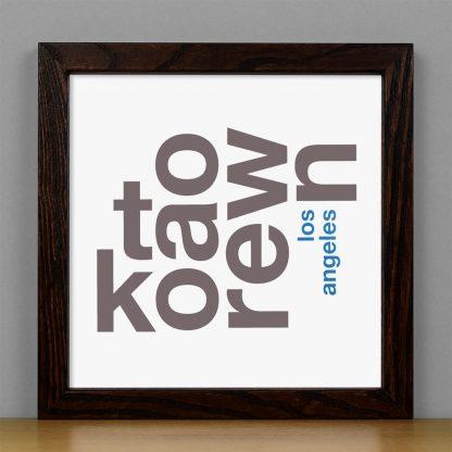 "Framed Koreatown Fun With Type Mini Print, 8"" x 8"", White & Grey in Dark Wood Frame"