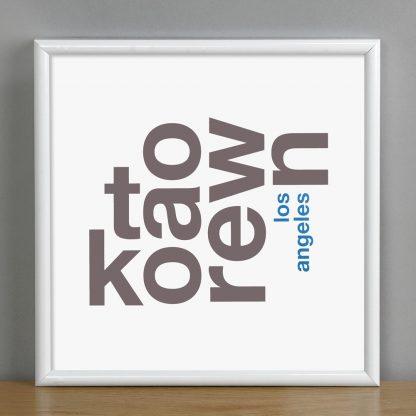 """Framed Koreatown Fun With Type Mini Print, 8"""" x 8"""", White & Grey in White Metal Frame"""