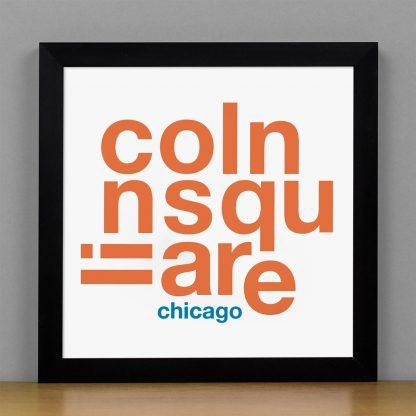 "Framed Lincoln Square Fun With Type Mini Print, 8"" x 8"", White & Orange in Black Metal Frame"