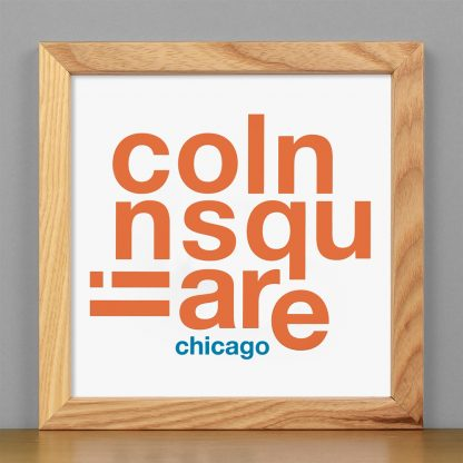 """Framed Lincoln Square Fun With Type Mini Print, 8"""" x 8"""", White & Orange in Light Wood Frame"""