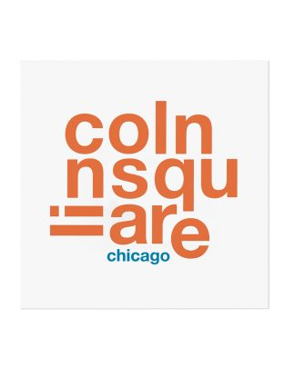 "Lincoln Square Fun With Type Mini Print, 8"" x 8"", White & Orange"