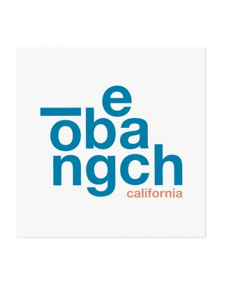 "Long Beach Fun With Type Mini Print, 8"" x 8"", White & Blue"