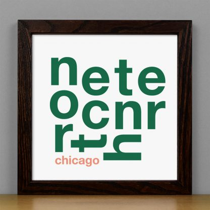 "Framed North Center Chicago Fun With Type Mini Print, 8"" x 8"", White & Green in Dark Wood Frame"