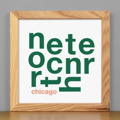 "Framed North Center Chicago Fun With Type Mini Print, 8"" x 8"", White & Green in Light Wood Frame"