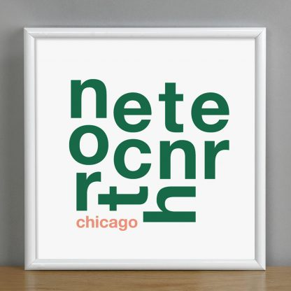 "Framed North Center Chicago Fun With Type Mini Print, 8"" x 8"", White & Green in White Metal Frame"