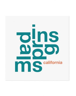 "Palm Springs Fun With Type Mini Print, 8"" x 8"", White & Teal"