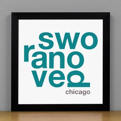 "Framed Ravenswood Fun With Type Mini Print, 8"" x 8"", White & Teal in Black Metal Frame"