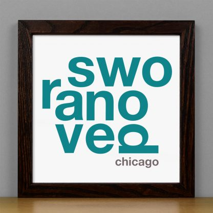 "Framed Ravenswood Fun With Type Mini Print, 8"" x 8"", White & Teal in Dark Wood Frame"
