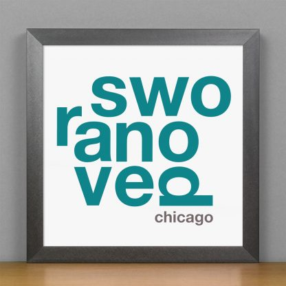 "Framed Ravenswood Fun With Type Mini Print, 8"" x 8"", White & Teal in Steel Grey Frame"