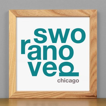"Framed Ravenswood Fun With Type Mini Print, 8"" x 8"", White & Teal in Light Wood Frame"