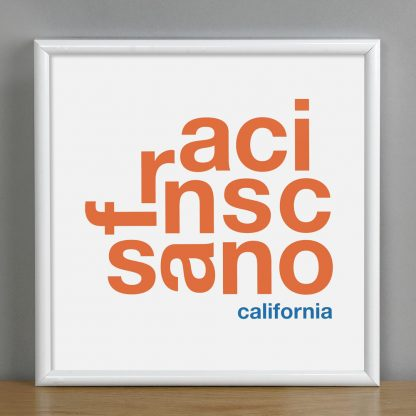 "Framed San Francisco Fun With Type Mini Print, 8"" x 8"", White & Orange in White Metal Frame"