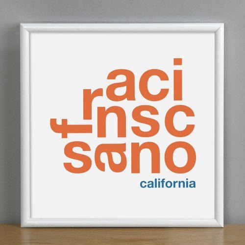 """Framed San Francisco Fun With Type Mini Print, 8"""" x 8"""", White & Orange in White Metal Frame"""