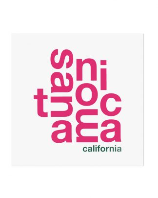 "Santa Monica Fun With Type Mini Print, 8"" x 8"", White & Pink"