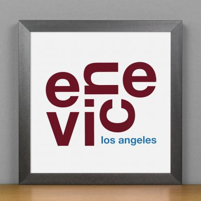 "Framed Venice Fun With Type Mini Print, 8"" x 8"", White & Maroon in Steel Grey Frame"