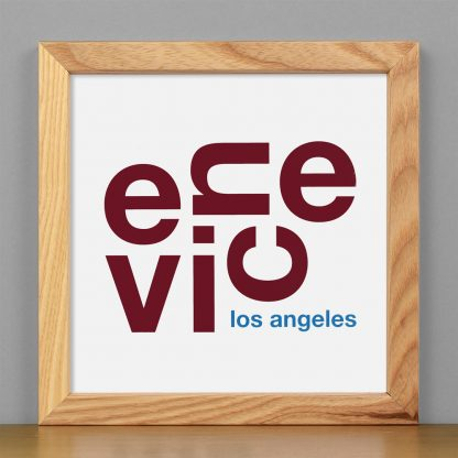 """Framed Venice Fun With Type Mini Print, 8"""" x 8"""", White & Maroon in Light Wood Frame"""