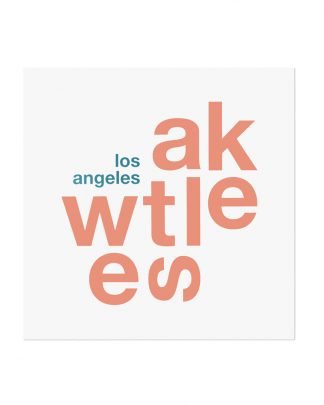 "Westlake Fun With Type Mini Print, 8"" x 8"", White & Coral"
