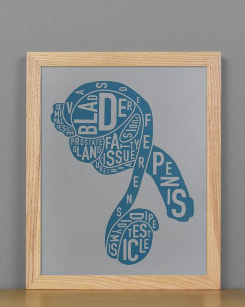 "Framed Male Anatomy Typographic Mini Print, 8"" x 10"", Grey & Blue in Light Wood Frame"